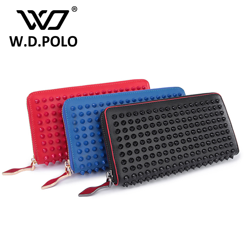 WDPOLO New color rock stud women genuine leather wallet high chic brand design lady standard wallets easy clutch hand bagM2322 aqua profix dark green 100m 0 10mm 6 50kg