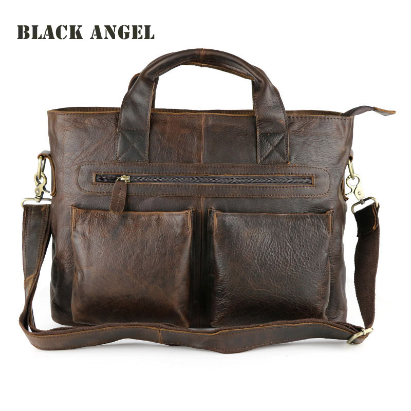 Fashion Men Genuine Leather Cowhide Briefcase Messenger Bags casual men bag business Shoulder Bag Crazy horse Leather Handbag hot sale genuine horse leather top pu leather casual vintage men envelop clutch bag handbag fashion brief messenger shoudler bag