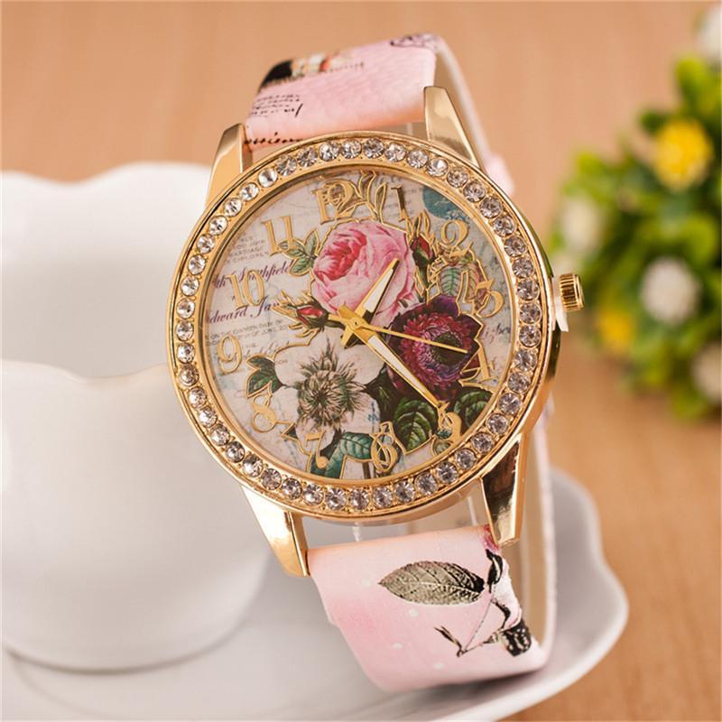 New Fashion Chinese Style Rose Flower Watches Women Dress PU ...