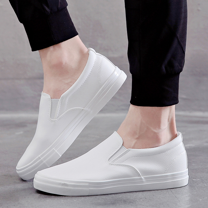 Fashion Men Loafers Leather Shoes Slip-On Breathable Casual Shoes Mens Waterproof Outdoor Sneakers 2019 Solid Black White Flats