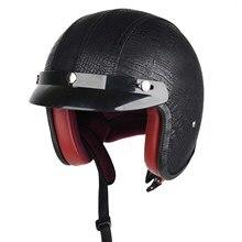 Мотоцикл Защитное Снаряжение Шлемы Cool Черный Кожа Половина Глава Защитите Шлемы Хорошее Качество Шлемы С Забралом M XL