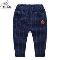 I K Boy Spring Autumn Pants Children Plaid Pattern Clothing 2017 Fashion Long Trousers 100 Cotton