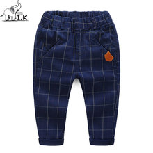 I.K Boy Spring Autumn Pants Children Plaid Pattern Clothing 2017 Fashion Long Trousers 100% Cotton Kids Warm High Quality PT1003