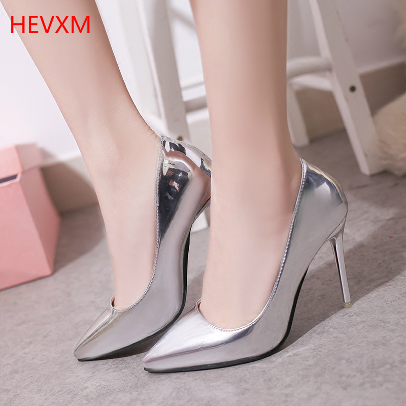 HEVXM 2017 Spring Autumn Fashion Woman Shallow Mouth Pointed Nightclub High Heels Lady Sexy Professional Shoes Work Shoes Pumps 14cm sexy fine with nightclub shiny diamond high heels spring and autumn shallow mouth princess wedding shoes