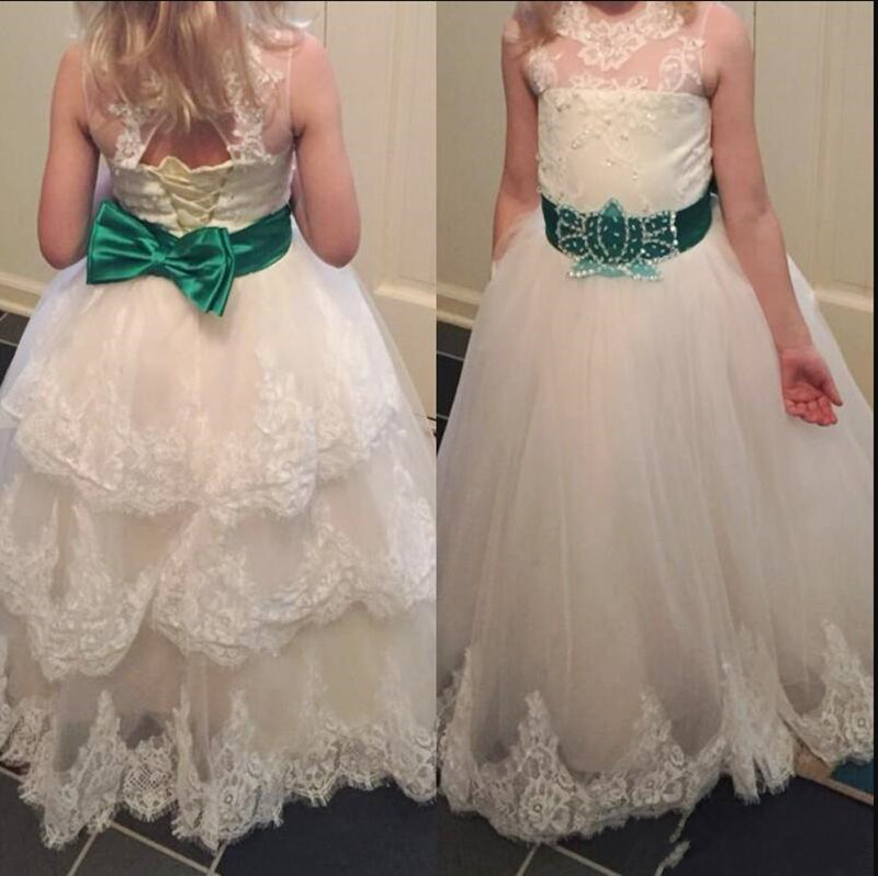 Long Tiered Tulle   Flower     Girl     Dress   with Appliques Lace Up Keyhole Back Gorgeous Princess   Dress   with Belt Any Size and Any Color