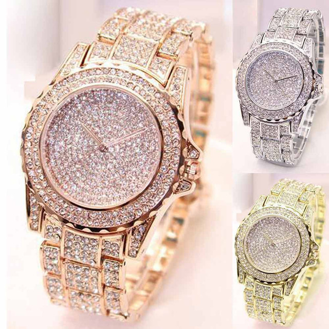 Golden New Clock gold Fashion Men watch Diamonds Stainless Steel Quartz watches