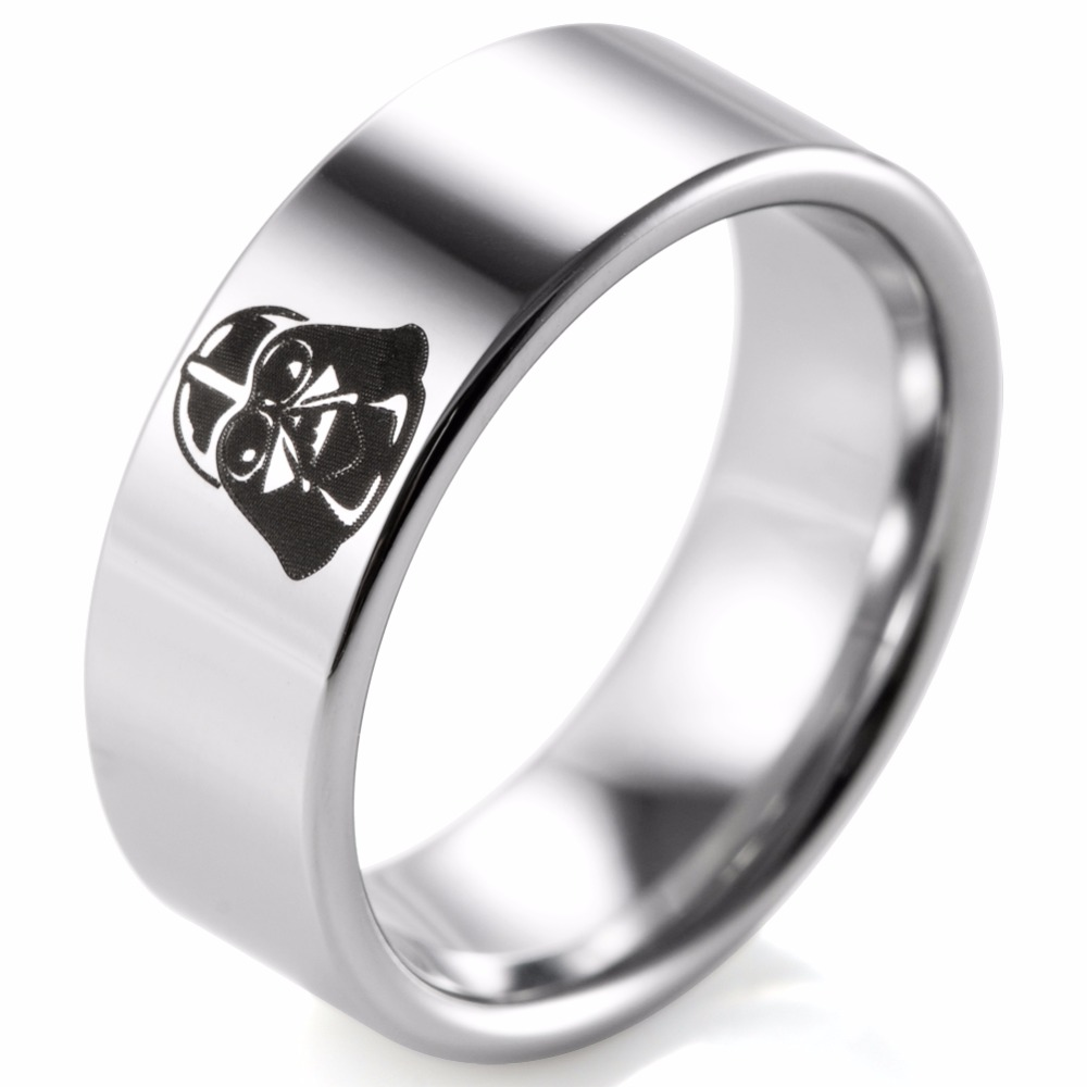 carbide white ring tungsten bands plain dome wedding
