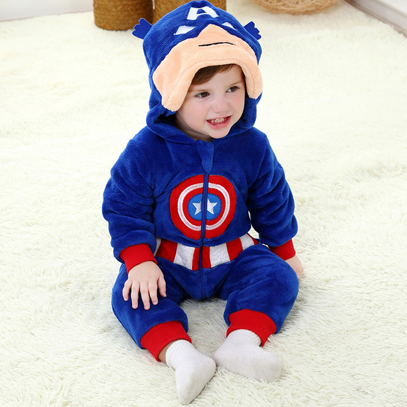 Spring Baby Rompers Boy Jumpsuit Autumn Captain America Onesie Overalls for 0-3Y Toddlers Blue Baby Clothing Sets roupas de bebe