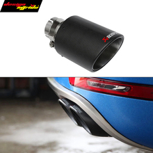 8 size carbon fiber trimming stainless steel universal car exhaust pipe tip 63mm 101mm Akrapovic car exhaust system for bmw vw 1pc akrapovic 89mm size car modification carbon fiber exhaust muffle pipe for benz bmw audi porsche cadillac honda buick ford