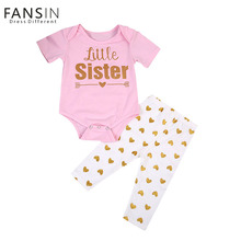 Fansin Brand Family Matching Outfits Sisters Clothes Set Casual Pink T Shirt Short Sleeve Tops+Long Pants Family Look Clothing