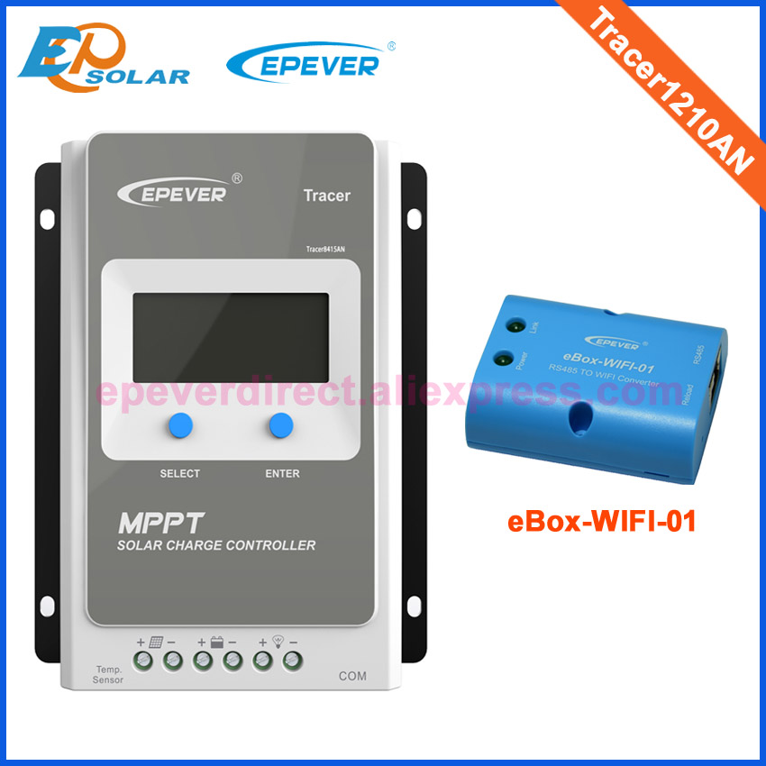 Tracer1210AN eBOX-WIFI-01 eBOX-BLE-01 10A 12v 24v 100v MPPT solar charge controller WIFI for mobile phone APP remote control