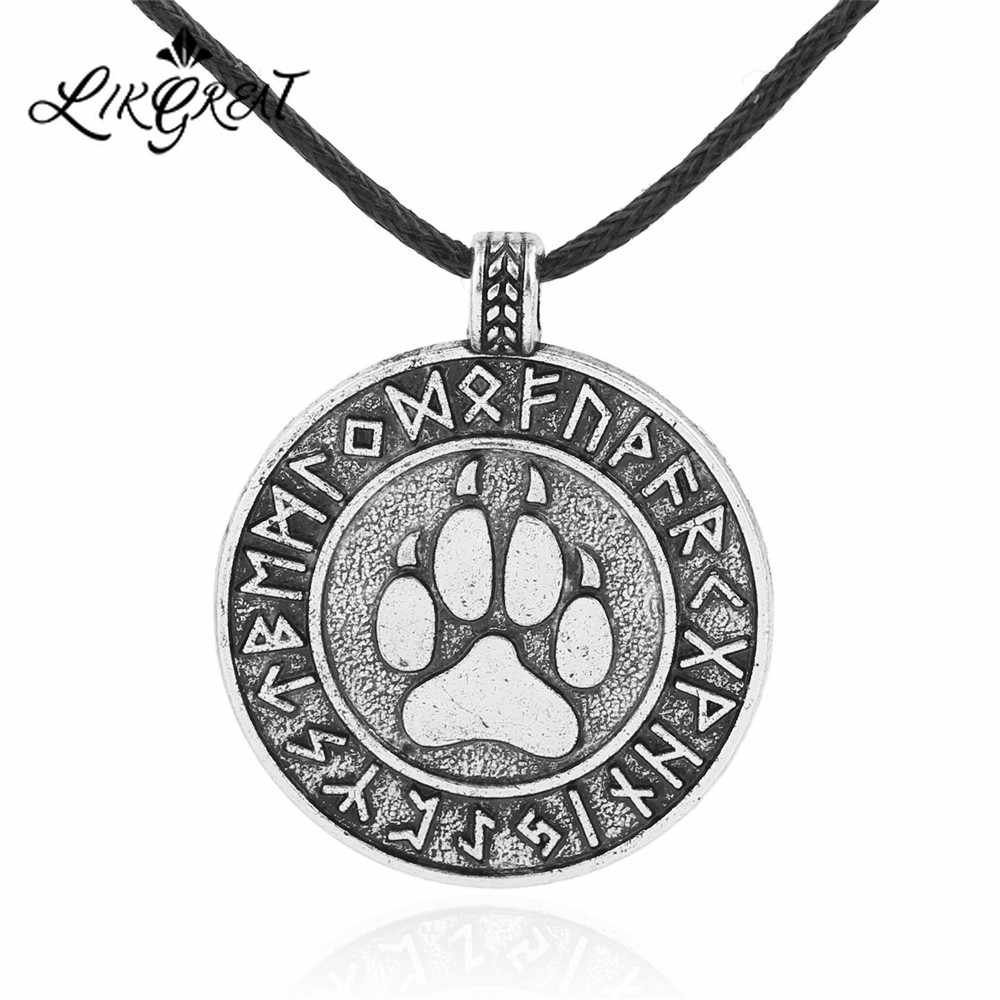 LIKGREAT Wolf Trail Paw Necklace Futhark Runes Pendant Viking Necklace Men Vintage Amulet Jewelry Gifts Symbolizing Leadership