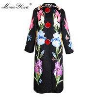MoaaYina Fashion Designer Windbreaker Overcoat Autumn winter Women 3/4 sleeve Plush ball Angel Floral Print Keep warm Overcoat