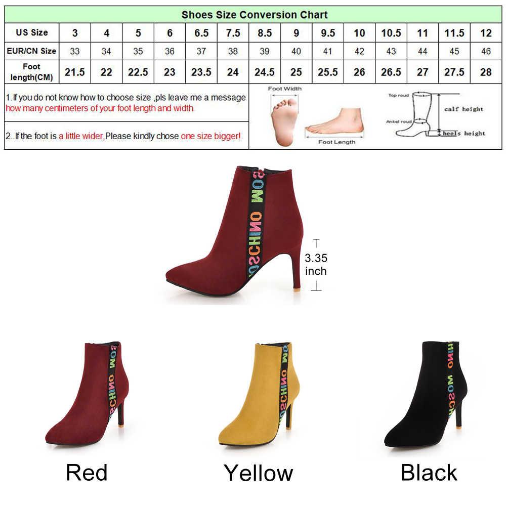 Meotina/2018 г. Зимние ботильоны женские ботинки на тонком высоком каблуке Полусапожки с острым носком модная женская обувь на молнии Большие размеры 45, 46