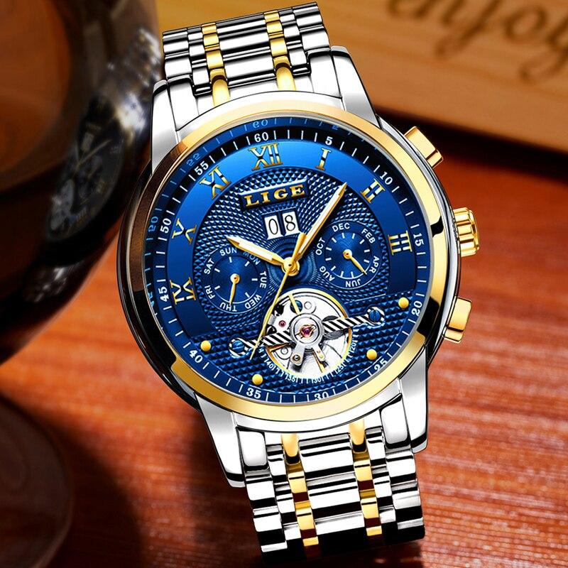 LIGE Mens Watches Top Brand Business Fashion Automatic Mechanical Watch Men Full Steel Sport Waterproof Watch Relogio Masculino