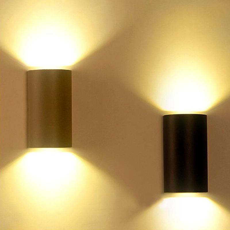 6W 10W LED กำแพงไฟ LED กันน้ำกลางแจ้ง IP65 อลูมิเนียมโมเดิร์นตกแต่ง Park Landscape Light Room Porch Garden โคมไฟสีเทา