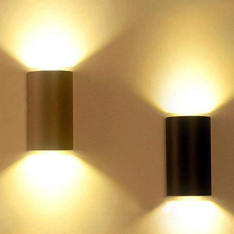 6W 10W luz LED de pared negra impermeable al aire libre IP65 decoración moderna de aluminio Luz de paisaje de parque habitación porche jardín lámpara gris