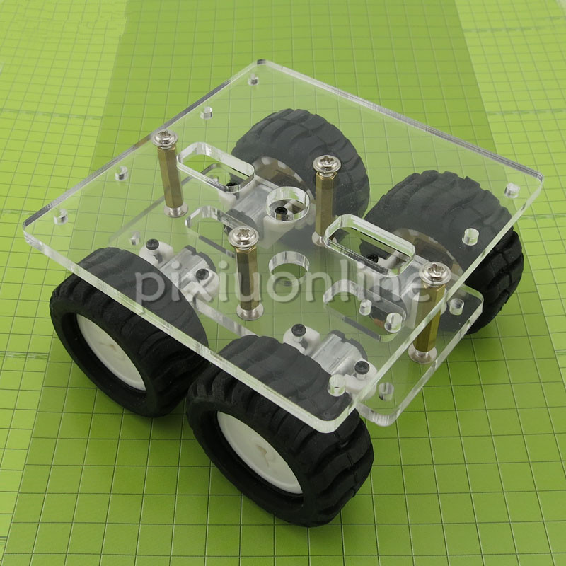 J266 4WD Transparent Acrylic Board Model Car with 4 N20 GEAR MOTOR DIY Chassis Frame Free Shipping Russia Spain Ukraine transparency acrylic n20 4wd two layer smart car chassis robot diy kit