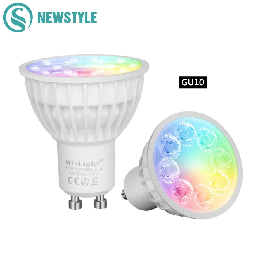 MiLight led bulb 4W GU10 220V Led Lamp Light Dimmable MR16 DC12V RGBCCT Home Decoration Bulb