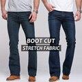 Mens calças de brim de boot cut perna levemente queimado slim fit famosa marca de jeans clássico denim calças de Brim azul macho preto