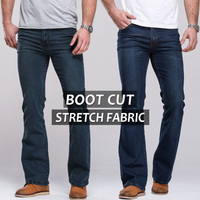2014 Free Shipping Male Boot Cut Semi Flared Bell Bottom Jeans Deep Blue Light Blue Tide