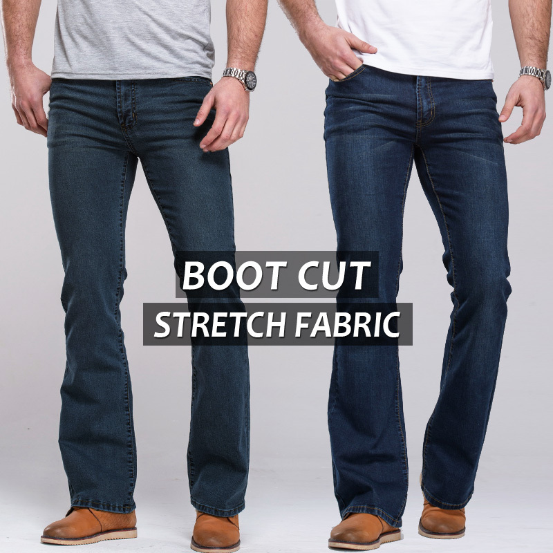 Aliexpress.com : Buy Mens jeans boot cut leg slightly flared slim ...