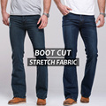 Mens jeans boot cut leg slightly flared slim fit famous brand blue black male jeans designer classic denim Jeans