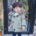 2017 Nova Moda Do Bebê dos Miúdos Meninos Casaco Quente Criança Crianças Jaqueta meninos Com Capuz Militar Acolchoado Jaqueta E Casaco Parka Com Pele do Inverno