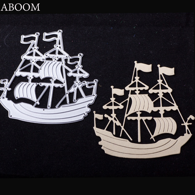ABOOM 1PC Scrapbooking Sailing Boat Ship Metal Die Cutting Photo Album Gift Cards Decorative Embossing Paper Card Stencils Cuts