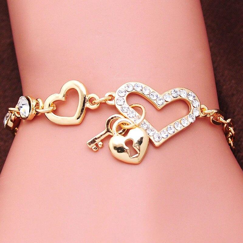 Free shipping Chain Bracelet Gold Color Women Love Heart Link Bracelet Crystal Bracelets Bangles Valentine's Day Gift