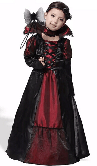 children vampire costumes halloween costume for kid long dress with hair band carnival party stage show cosplay - Band Halloween Costumes