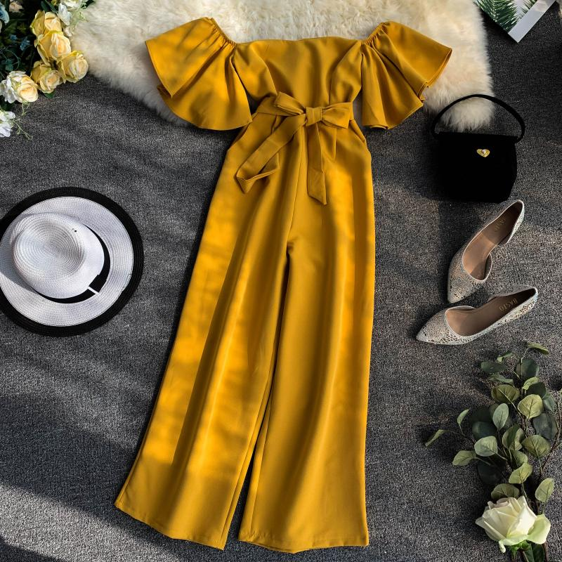 Women Solid Color Short Flare Sleeve Lace-up Pocket Waist Slimming Wide Leg   Jumpsuits   Women Slash Neck Elegant Overalls E622