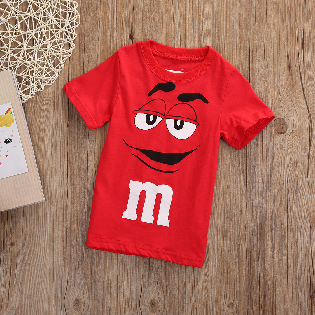 2017 New Baby Boy Girl Clothes Kids Summer Short Sleeve Red Chocolates Cute Loose Cotton Personalised T-shirt Tops 2-7Y Tee Age