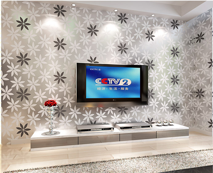 Modern Continental Reflective Wallpaper Flower Flocking Bedroom Living Room TV Backdrop Wallpapers Wall Paper In From Home Improvement On