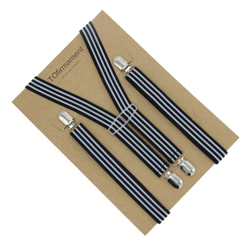 Mens Skinny Slim Adults Good Clips Braces Elastic 2.5*105cm Split Stripe Pattern Print Dual Wear Polyester Suspenders