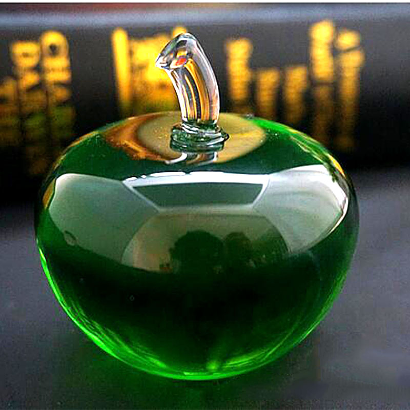 Top Quality Green Paperweight Glass Crystal Apple Crafts Art&Collection 80mm Fruit Souvenir Home Wedding Decoration Gifts