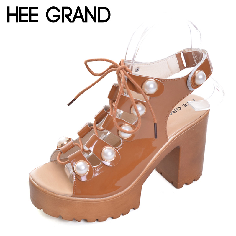 HEE GRAND 2017 Platform Gladiator Sandals Slingback High Heels Summer Casual Shoes Woman Lace-Up Pumps Pearl Women Shoes XWZ4178 hee grand summer glitter gladiator sandals 2017 casual wedges bling platform shoes woman sexy high heels beach creepers xwx5813
