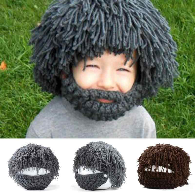 2d53c2f61ac Wig Beard Hats Hobo Mad Scientist Rasta Caveman Handmade Winter Knit Warm  Men Women Caps Gift