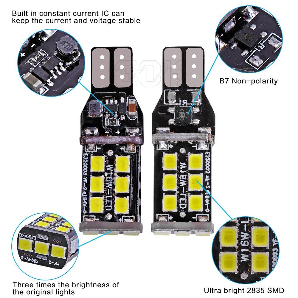 10 шт в упаковке, новая Canbus 7,5 Вт T15 светодиодный W16W t10 15SMD Автомобильный светодиодный T10 15 Светодиодный 2835 SMD Нет Ошибка сигнал заднего хода задний фонарь белый стайлинга автомобилей