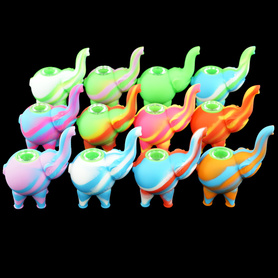 New elephant shape pattern Silicone Tobacco Pipes Silicone Smoking Pipes VS Glass Water Pipes Glass Bubblers