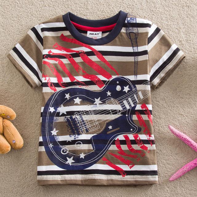 Crianças NEAT 2014 Novo Verão bebê menino Roupas T-Shirt roupas para crianças guitarra dos desenhos animados t-shirts de manga curta 100% Algodão S8120 #
