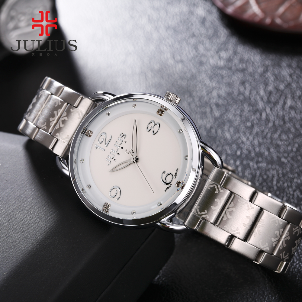 Top Lady Women's Watch Japan Quartz Fashion Hours Dress Business Bracelet Stainless Steel Chain Christmas Girl Gift Julius Box new simple cutting glass women s watch japan quartz hours fashion dress stainless steel bracelet birthday girl gift julius box