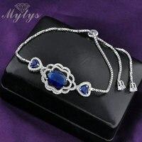 Mytys Valentine's Day Gift Adjustable Length Heart Shape Blue Crystal Box Chain Tiny Bracelet For Women B940