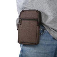 Outdoor Hiking Sports Multi Pockets Phone Case Canvas Nylon Waist Bag For Motorola Moto E4 Plus