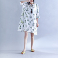 Mori Girl Cactus Printing Ladies Casual Dresses Summer Style Cotton Linen V Neck MinI Dress With