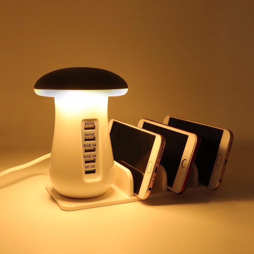 YWXLight Mushroom Night Light Button mode/Touch mode 3.0 USB Charger Hub 5 Port Adapter Phone Charging LED Mushroom Desk Light pro svet light led mushroom