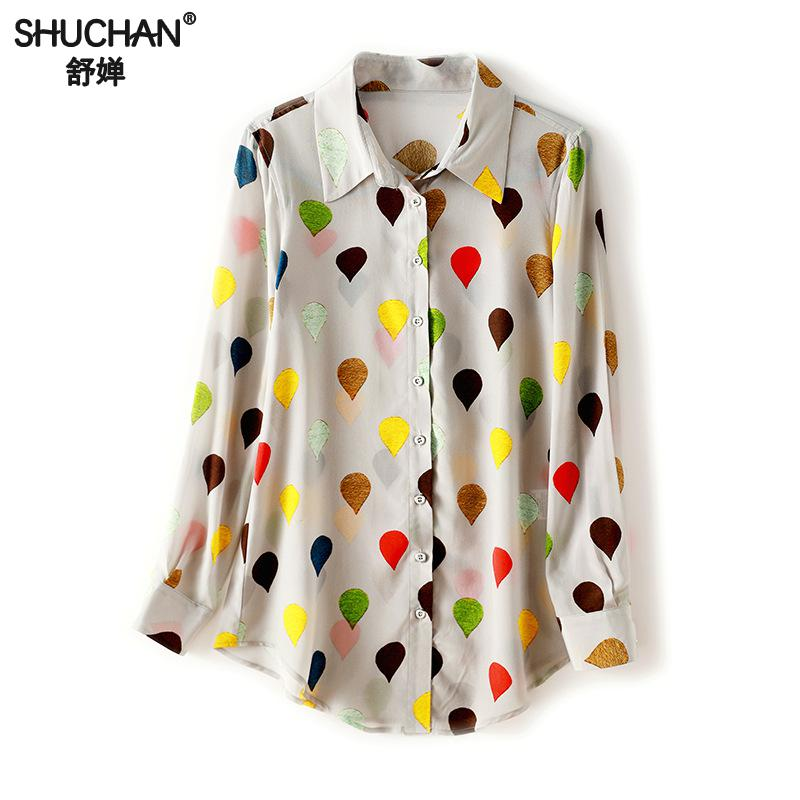 d6716ba05de4cc Shuchan Women Natural Silk Shirts Knitted Full Sleeve Ol Blouses Large Female  Shirts Comfortable Breathable Turn. US $65.14. Women Colorful Five Star  Print ...