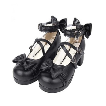 ROLECOS Sweet Lolita Shoes For Women Round Toe Ankle Strap Cosplay Shoes With Bowknot Female Japanese Shoes LOlita Cosplay Shoes 2