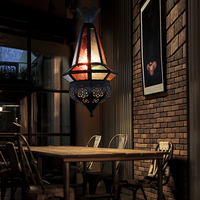 Man Coffee Mediterranean Moroccan lamps Creative Retro Bar Bar Internet cafe stained glass pendant lights lighting