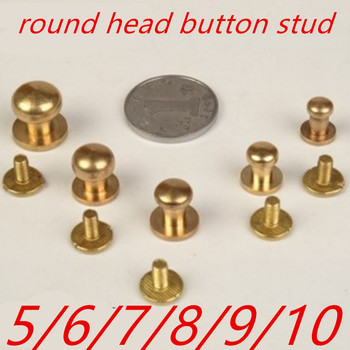 10pcs/lot 5mm 6mm 7mm 8mm 9mm 10mm Brass Solid Screw/Nail Rivet/round head button stud/chicago screw image